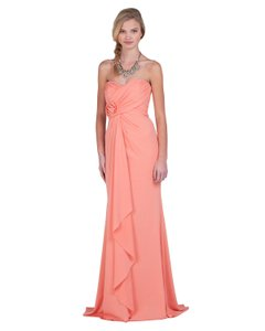 Badgley Mischka Coral Polyester/Spandex Gown Style Eg1259 Color Small Modern Wedding Dress Size 6 (S)