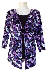 JM Collection Polka Dots Ring Quarter Sleeve Layer Top purple, black, white