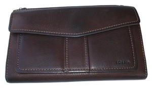 Fossil Large Leather Checkbook ID Wallet Organizer with Glasses Case SL 8835