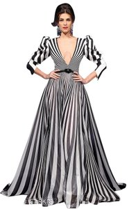 fouad sarkis Long Stripped Night Our Party Gown Dress