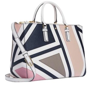 Tory Burch Robsinson Leather Tote Satchel in Fret-Patchwork