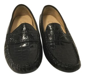 Cole Haan Black embossed all leather padded insoles NikeAir loafer Flats
