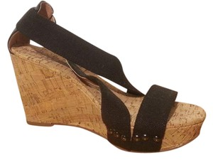 Lucky Brand Cork Wedge Strappy Black Wedges