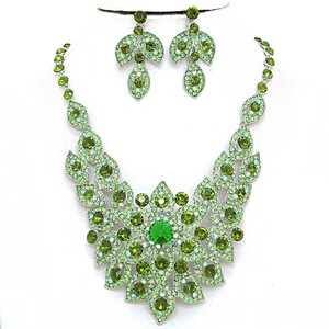 Elegant Design Green Crystal Pave Rhodium Silver Bib Collar Necklace Earring Set
