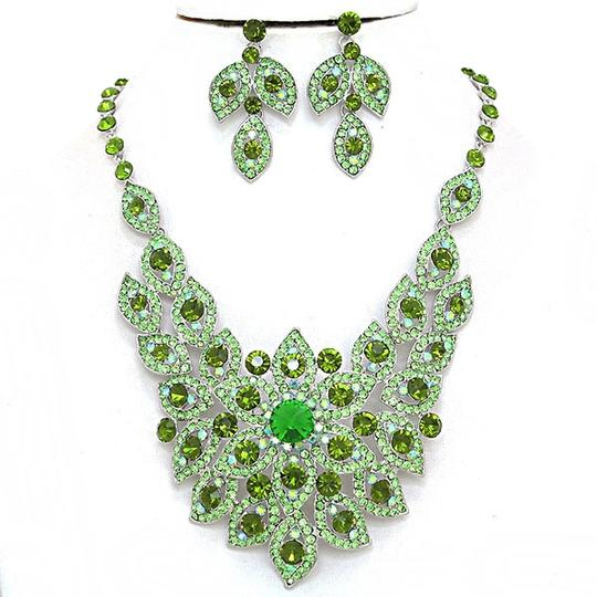 Preload https://img-static.tradesy.com/item/1971592/green-rhodium-elegant-design-crystal-pave-silver-bib-collar-earring-set-necklace-0-0-540-540.jpg