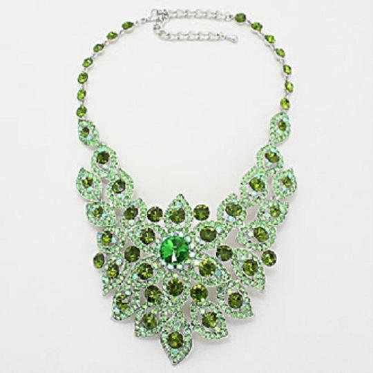 Other Elegant Design Green Crystal Pave Rhodium Silver Bib Collar Necklace Earring Set Image 1
