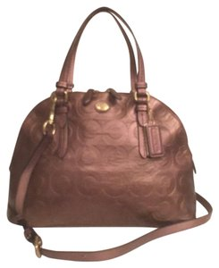 Coach Leather Logo Dome Satchel in Bronze