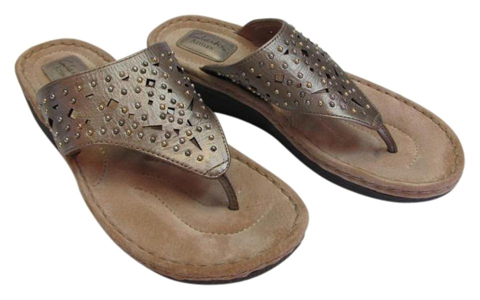 Clarks Gold New Leather M Wedges Padded Footbed Excellent Condition Wedges M 4fd4dd