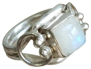 Other Vintage Sterling Silver Square Moonstone Ring