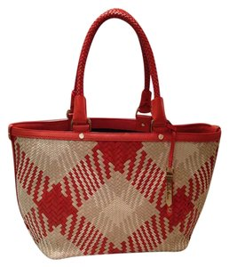 Cole Haan Tote in Spicy Orange (Red Orange Brown) White Cream Tan Beige