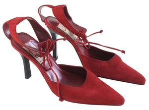 Diba Ankle Strap Suede Red Pumps
