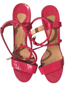 Chloé Pink Chloe Platform Patent Leather Rasberry/pink Sandals