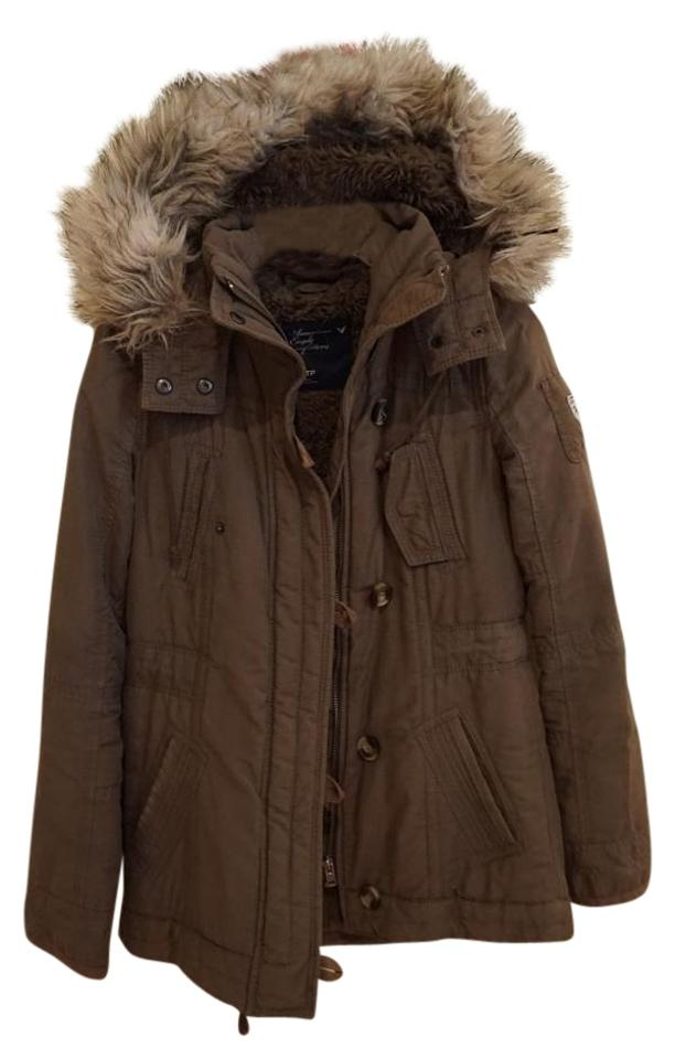 494bc26dc46e2 American Eagle Outfitters Olive Green Faux Fur Hooded Parka Jacket ...