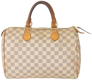 Louis Vuitton Monogram Speedy Boston Speedy 30 Satchel in White