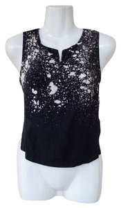 Urban Outfitters Crop Splatter Opening Side Top black, white