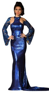 Fouad Sarkis Evening Gown Party Night Out Sequin Long Dress
