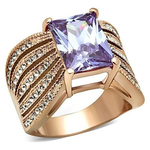 La Bella Rose Rose Gold Stainless Steel Lt. Amethyst CZ Ring - 07421