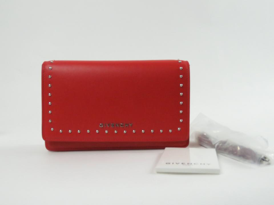 Givenchy Medium Red Pandora Studded Leather Chain Wallet - Tradesy 9a239f3b8a2a2
