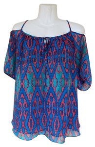 Nicole Miller Oversized Cold Keyhole Boho Trendy Top coral, blue, green