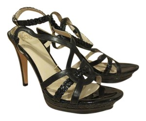Joan & David High Patent Leather Black Sandals