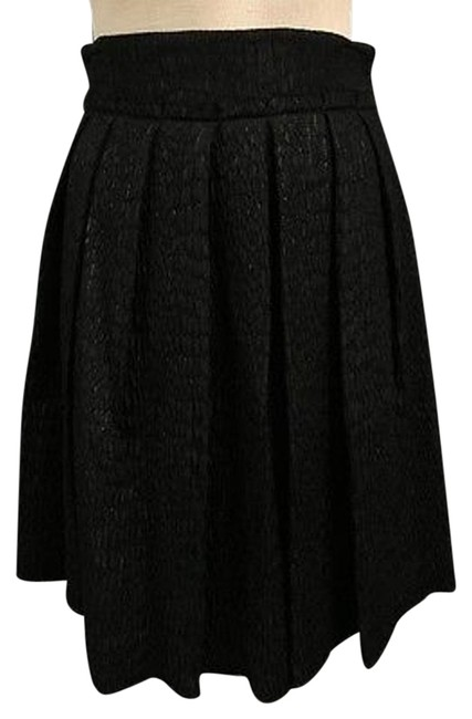 Item - Black Pleat Lined Thick Textured Side Zip Knee Length Skirt Sma9943