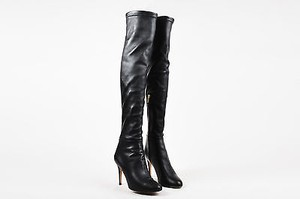 Jimmy Choo Stretch Leather Thigh High Black Boots