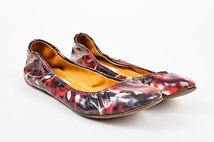 Lanvin Red Black White Coated Multi-Color Flats