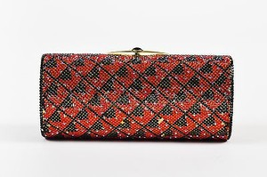 Judith Leiber Red Zig Zag Crystal Embellished Minaudiere Black, Red, Gold-Tone Clutch