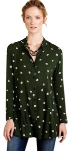 Anthropologie Ladybugs Tunic Button Down Shirt Green