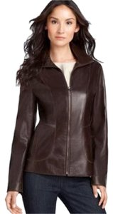 Cole Haan Lambskin Standcollar Leather Brown Leather Jacket