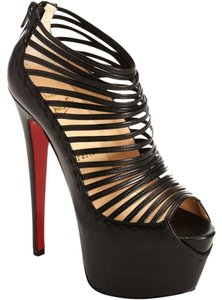 Christian Louboutin Leather Strappy Bootie Black Pumps