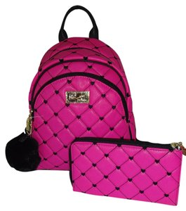 Betsey Johnson Medium Matching Wallet Quilted Diamond Backpack