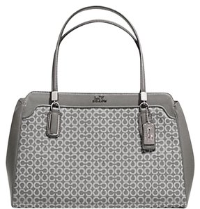 Coach Carryall Canvas Leather Interior Dividers Tote in Gray/white