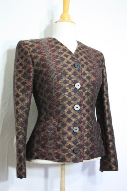 Missoni Donna Italy Wool Vintage Winter Multicolor Blazer Image 1
