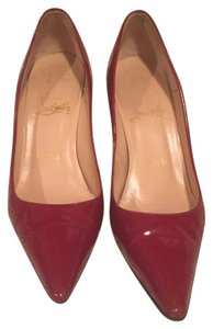 Christian Louboutin Cl Patent Leather Burgundy Pumps