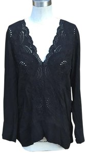 Johnny Was Tunic Lace V Neck Top Black