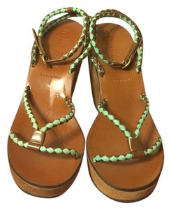 Miu Miu Turquoise / brown Wedges