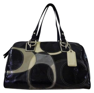 Coach Satchel in Black/Grey/White