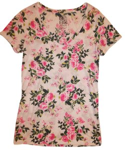 Nollie Blouse Stretch Floral T Shirt White, Pink, Green