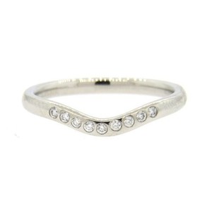 Tiffany & Co. size 5.25, paltinum, 0.10ctw genuine diamond, curve, stacking ring