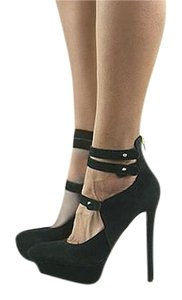 Betsey Johnson Platform Suede Stiletto Black Pumps