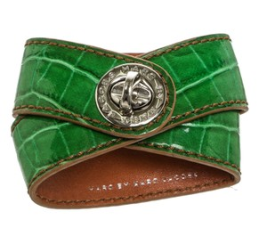 Marc by Marc Jacobs Marc by Marc Jacobs Green Croc-Embossed Leather Around Cuff Bracelet