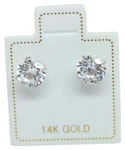 Other 14K White Gold CZ Stud Earrings 6mm
