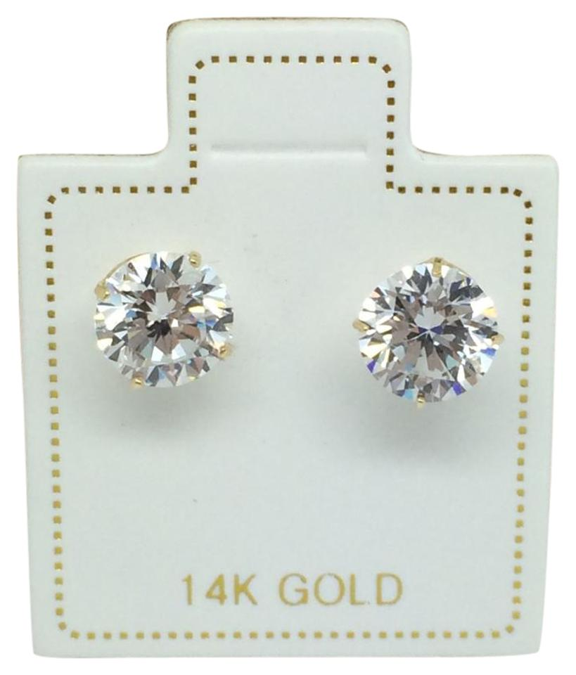 Other 14k Yellow Gold Cz Stud Earrings 6mm