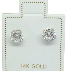 Other 14K White Gold CZ Stud Earrings 4mm