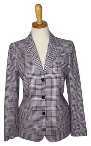 Luciano Barbera Italy Plaid Wool Check Purple Blazer