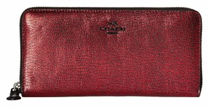 Coach Coach 52338 Metallic Red Leather Zip Around Wallet