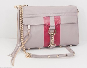Rebecca Minkoff Tortura Red Stripe Leather Full Mac Cross Body Beige Clutch