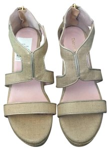 Taryn Rose Tan, gold and woven fabric Wedges