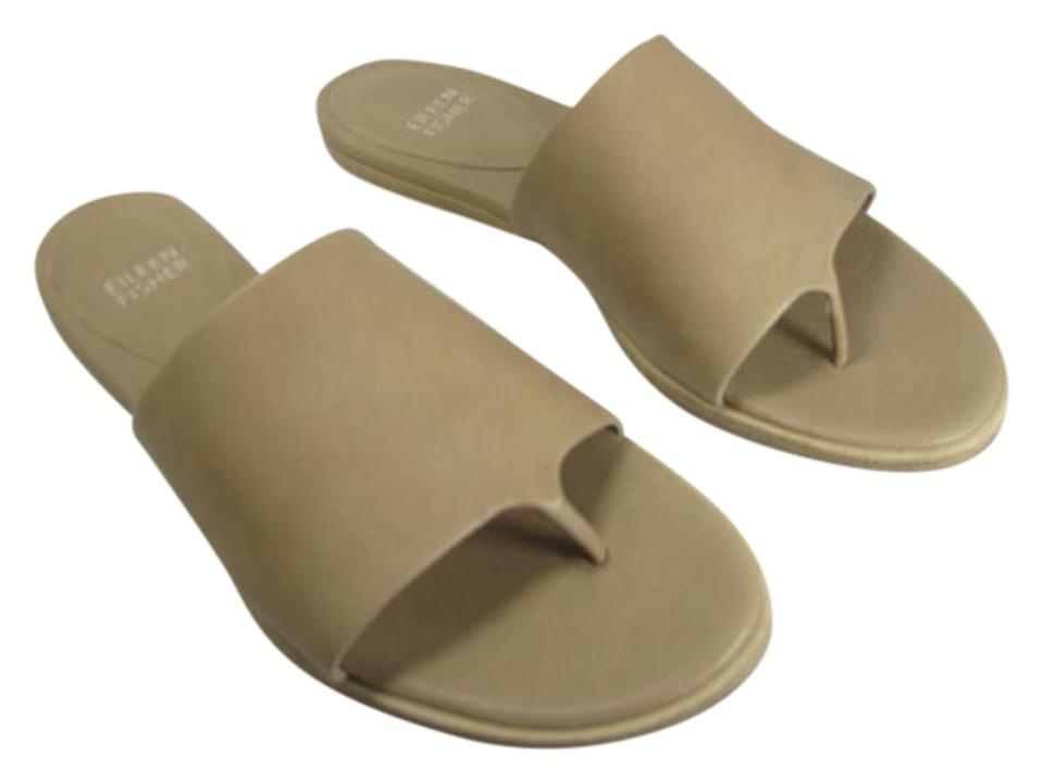 03a4d39f5ab Eileen Fisher Beige  Sand New  edge  Women s Sand  Leather Thong Flat Slide  Sandals